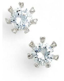 Embellished Prong Cubic Zirconia Stud Earrings
