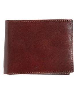 Flip Billfold Leather Wallet - Burgundy