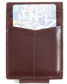 Leather Money Clip Card Case - Burgundy