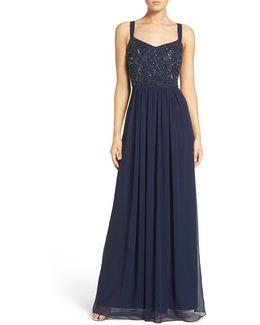 Embellished Bodice Chiffon Gown