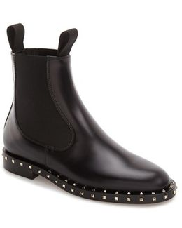 Rockstud Leather Chelsea Boots