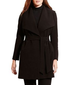 Belted Drape Front Coat
