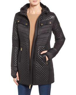 Hooded Zip-front Coat