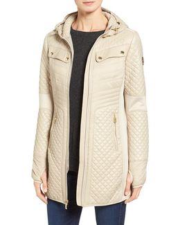 Mixed Media Hooded Zip Front Coat