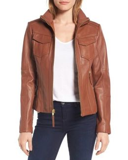 Front Zip Leather Jacket