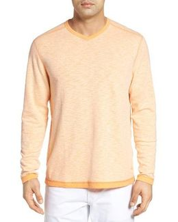 'seaglass' Reversible V-neck Pullover