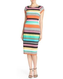 Stripe Pique Midi Sheath Dress