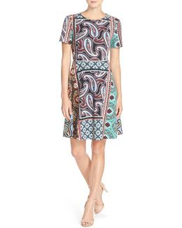 Print Stretch Fit-and-Flare Dress