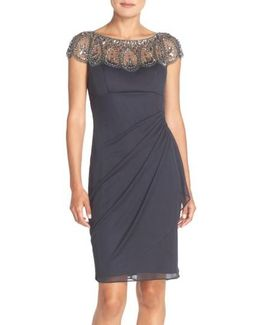 Embellished Chiffon Sheath Dress