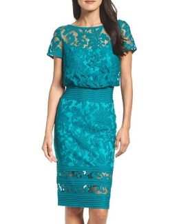 Embroidered Blouson Sheath Dress