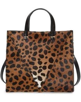'petit Simple' Leopard Print Genuine Calf Hair Tote