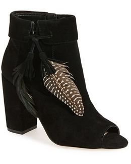 'kailey' Feather Charm Peep Toe Bootie