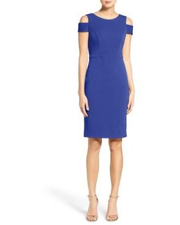 Cold Shoulder Crepe Sheath Dress
