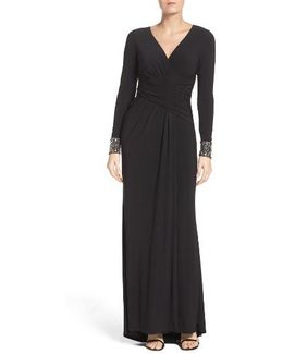 Embellished Sleeve Jersey Gown