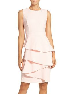 Ella Cascade Crepe Sheath Dress