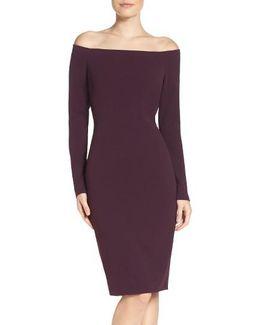 Off The Shoulder Scuba Sheath Dress