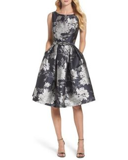 Belted Metallic Jacquard Fit & Flare Dress