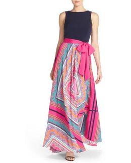 Scarf Print Jersey & Crepe De Chine Maxi Dress