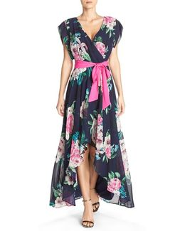 Floral Print Chiffon High/low Dress