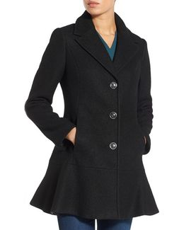 Notch Lapel Peplum Coat