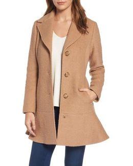 Notch Lapel Peplum Coat