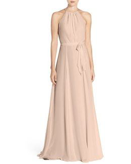 'delaney' Belted A-line Chiffon Halter Dress