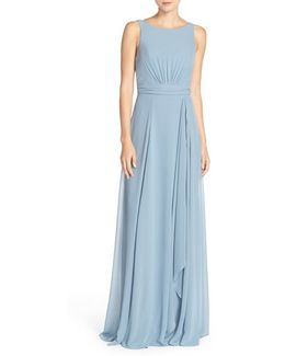 'rory' Sleeveless V-back Chiffon Gown