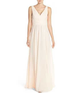 'justine' Double V-neck Chiffon Gown