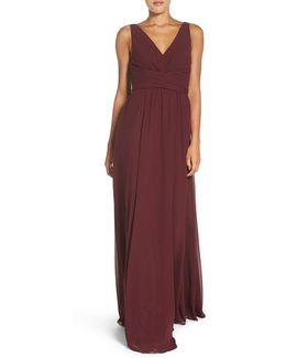 Justine Double V-neck Chiffon Gown