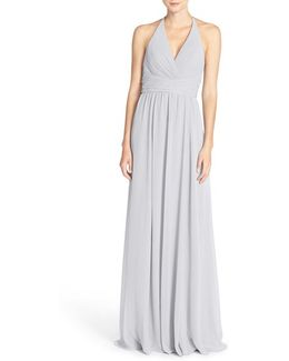 Jennifer V-neck Chiffon Halter Gown