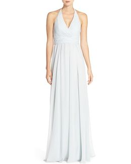 'jennifer' V-neck Chiffon Halter Gown