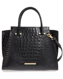 'priscilla' Croc Embossed Leather Satchel