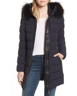 Genuine Fox Fur Trim Hooded Down Coat