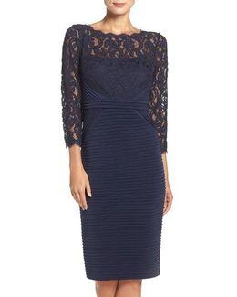 Lace & Jersey Sheath Dress
