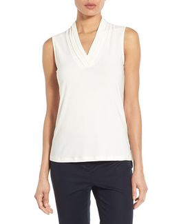 Triple Pleat V-neck Jersey Top