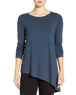 Round Neck Lightweight Jersey Asymmetrical Hem Top