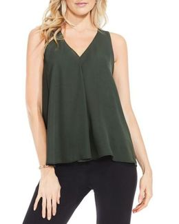 Drape Front V-neck Sleeveless Blouse