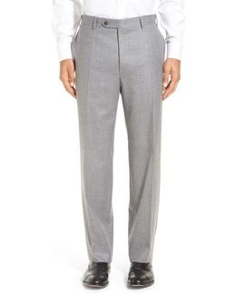 Flat Front Solid Wool Trousers