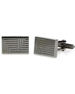 Textured Metal Plaque Rectangular Cuff Links