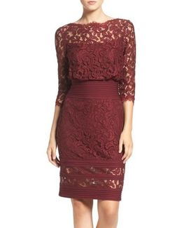Pleat Waist Lace Blouson Dress