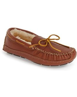 Genuine Shearling Lined Leather Slipper