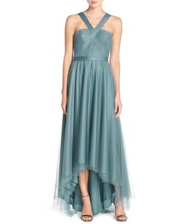 V-neck Tulle High/low Gown