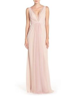 Deep V-neck Chiffon & Tulle Gown