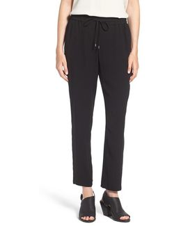 Silk Crepe Ankle Pants