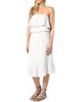 Ruffle Bodice Strapless Gauze Dress