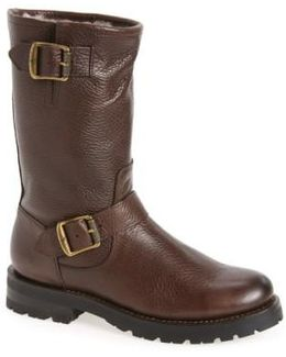 Natalie Buckle Strap Engineer Genuine Shearling Lined Boot