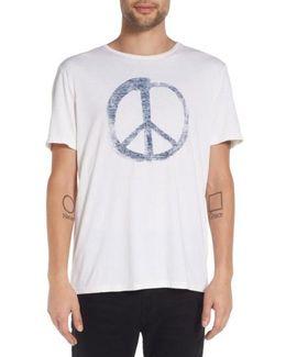 'peace Symbol' Graphic Crewneck T-shirt