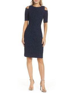 Cold Shoulder Sparkle Knit Sheath Dress