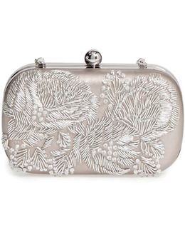 Floral Metallic Embroidered Clutch - Metallic