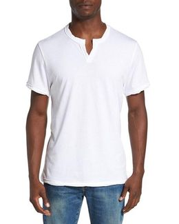 Notched Neck Pima Cotton T-shirt